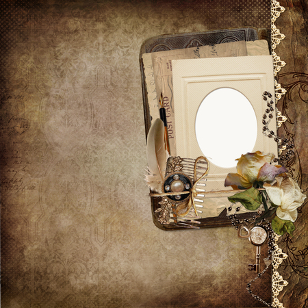 old letters: Vintage shabby background with frame, faded roses, old letters