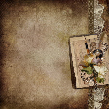 old letters: Vintage background with faded roses, lace, old letters