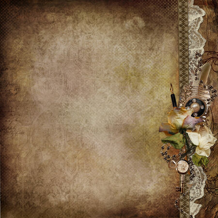 cor: Vintage shabby background with faded roses and retro décor