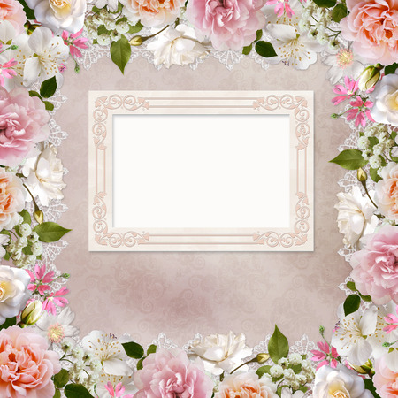 Border of roses, lace and frame on vintage background