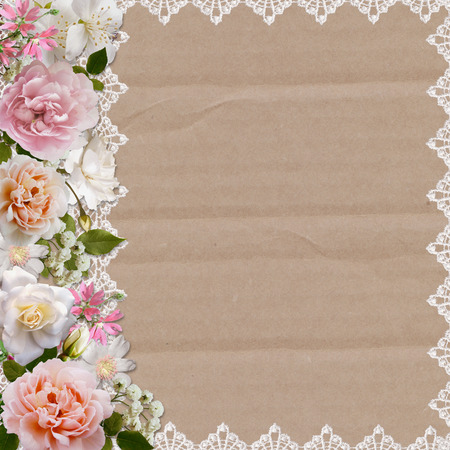 album page: Border of roses and lace on a cardboard background
