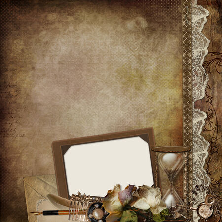 wedding photo frame: Vintage background with frame, faded roses, hourglass and retro decor Stock Photo