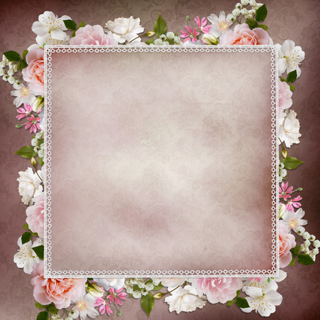Border of roses, lace on vintage background photo