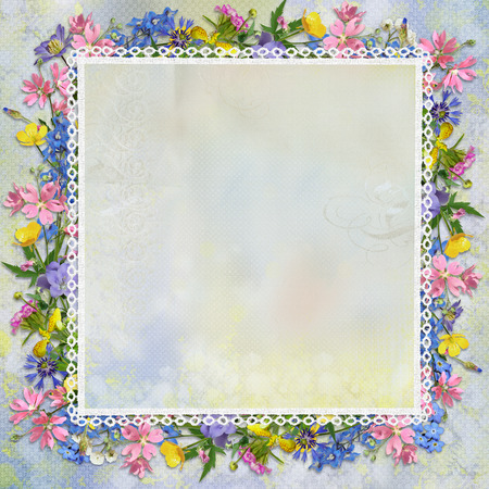 Border of flowers on a beautiful gentle background  photo