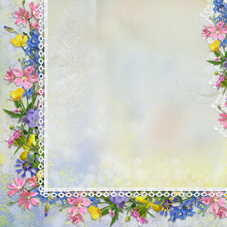 Border of flowers with lace on vintage background Stock Photo
