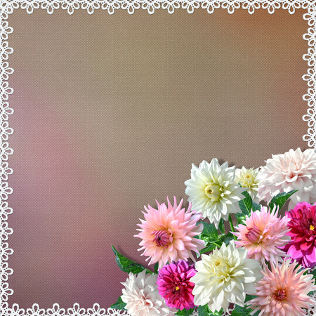 mammy: Bouquet of dahlias on vintage background with lace Stock Photo