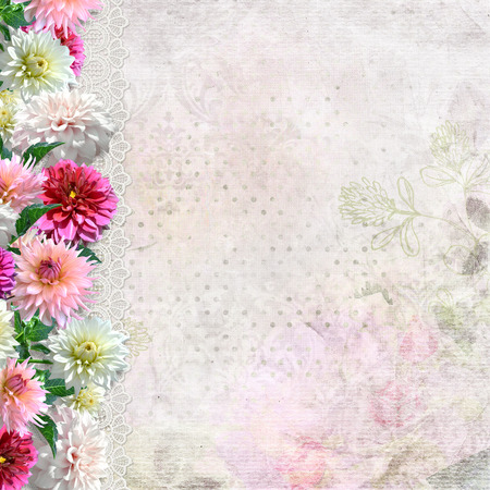 Border of flowers with lace on vintage background  photo