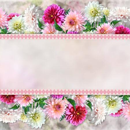 Border of flowers on vintage background photo