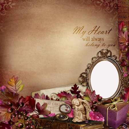 wedding photo frame: Frame in the Victorian style with retro decorations on vintage background