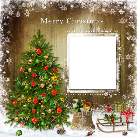 card background: Christmas greeting card with Christmas tree and gifts