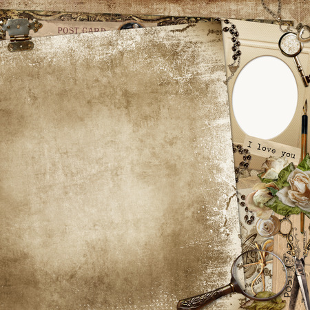 mammy: Vintage shabby background with frame, faded roses and retro decorations Stock Photo