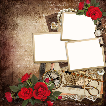 Frames with retro decoration and red roses on vintage background photo
