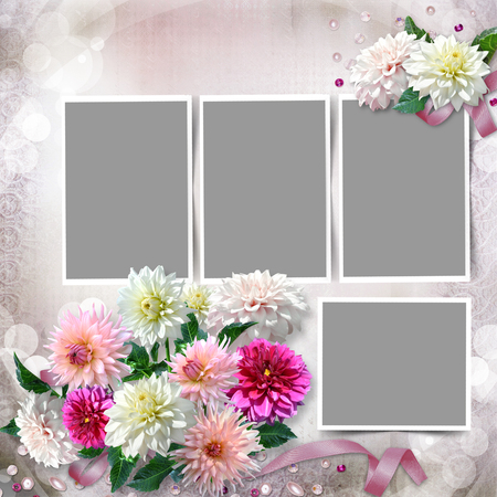 mammy: Frame with a bouquet of dahlias in the tender vintage background