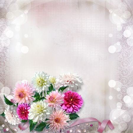 Vintage gorgeous gentle background with flowers dahlias photo