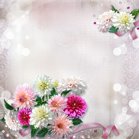 memoirs: Vintage gorgeous gentle background with flowers dahlias Stock Photo