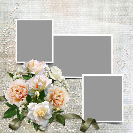 Gorgeous vintage background with roses, pearls and frames photo