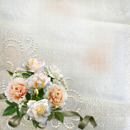mammy: Gorgeous vintage background with roses and pearls Stock Photo