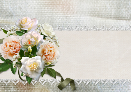 Beautiful vintage background with roses, lace and space for text photo