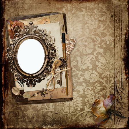 photo paper: Vintage background with frame and old letters, faded roses