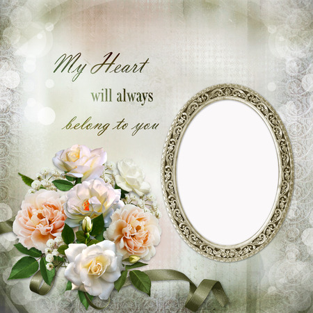 wedding photo album: Gorgeous vintage background with roses and frames