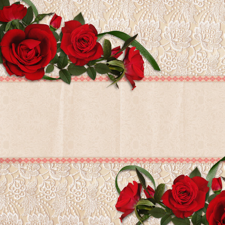 Red roses on a beautiful lace background photo