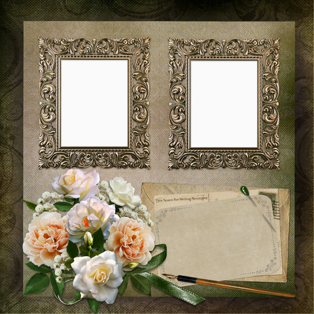 old letters: Two frames, a bouquet of roses, old letters on a green vintage background Stock Photo
