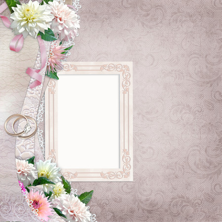 mammy: Beautiful border with flowers, frame and wedding rings on a vintage background Stock Photo