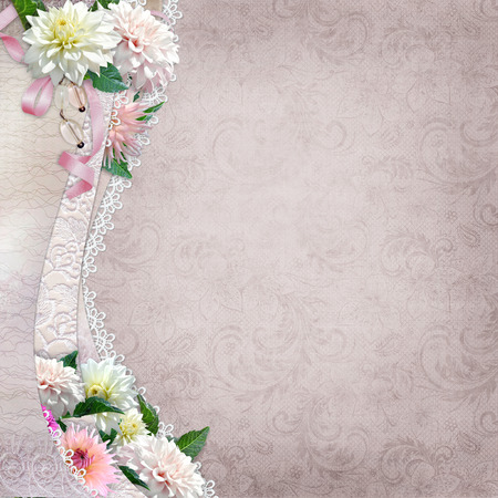 Beautiful border with flowers and lace on a vintage background