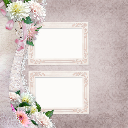 Beautiful border with flowers, lace and frames on vintage background photo