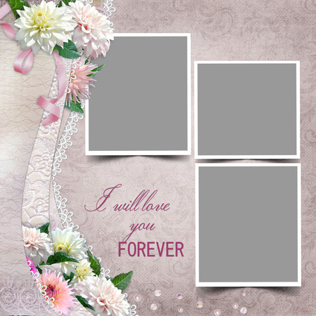 mammy: Border with flowers frames on a vintage background Stock Photo