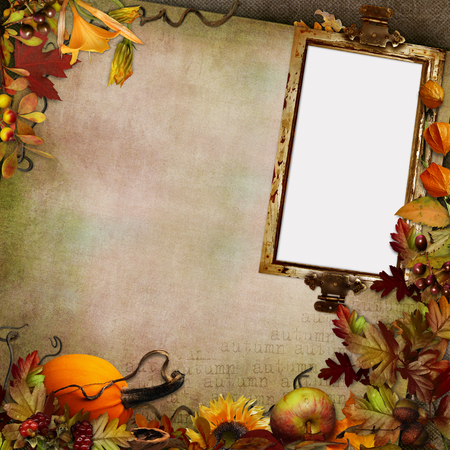 Green vintage background with frame and autumn leaves, pumpkin