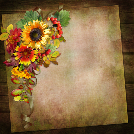 Vintage background with autumn leaves and flowers