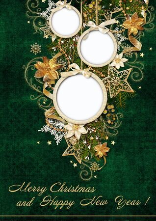 christmas greeting card: Christmas greeting card with balls-frame Stock Photo