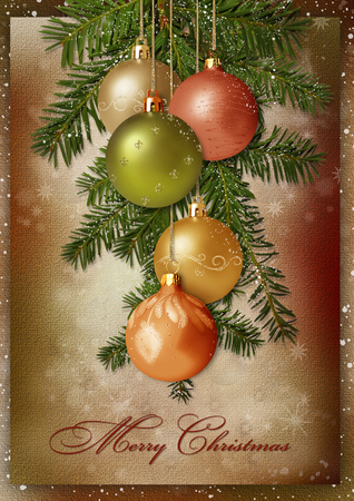 victorian christmas: Christmas greeting card with pine branches and balls