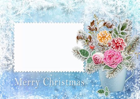 hoarfrost: Christmas greeting card with a bouquet of flowers and branches with hoarfrost
