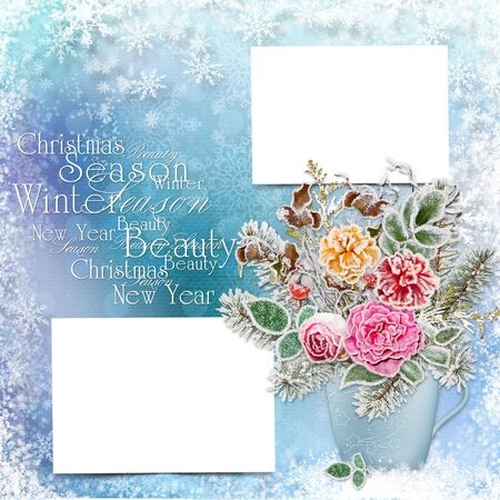victorian christmas: Greeting card with space for text or photos, flowers and branches with hoarfrost