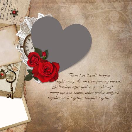 wedding photo frame: Photo frame heart-shaped, rose, old documents on a vintage background Stock Photo