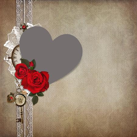mammy: Photo frame heart-shaped, rose on a vintage background