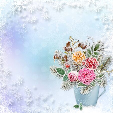 hoarfrost: Christmas greeting background a bouquet of flowers and branches with hoarfrost