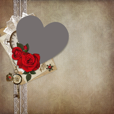 the spouse: Photo frame heart-shaped, rose, old letters on a vintage background