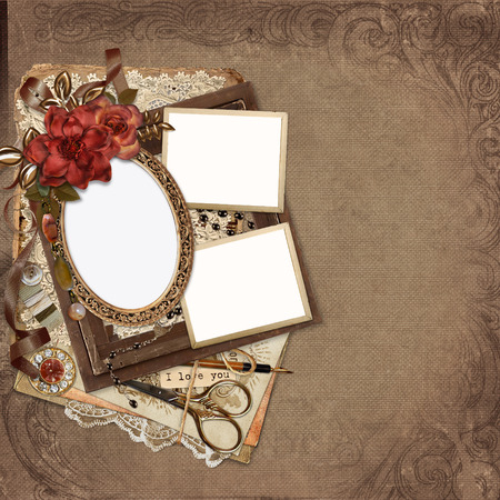 mammy: Frames with roses, retro decorations on vintage background Stock Photo