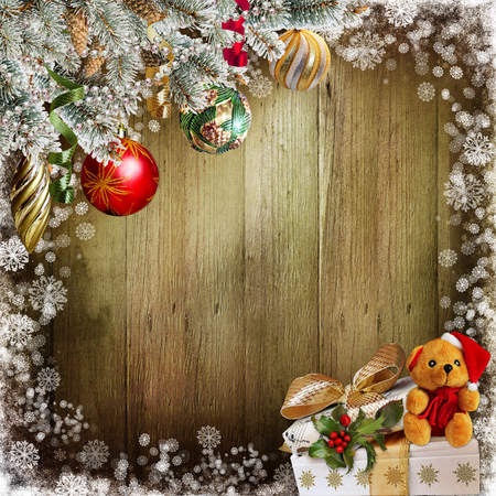 old paper texture: Christmas background with pine branches, balls, gifts and toys