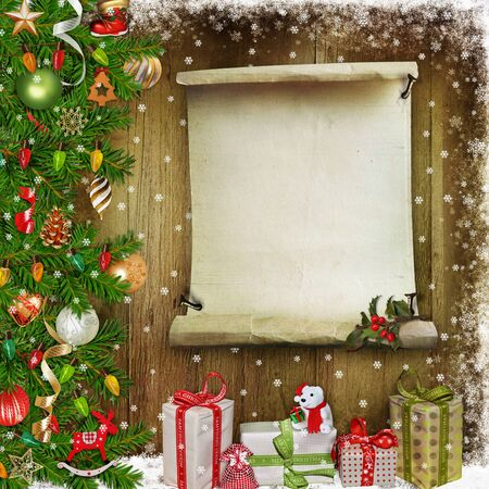 congratulatory: Christmas congratulatory background with pine branches, gifts, Christmas decorations and place for text