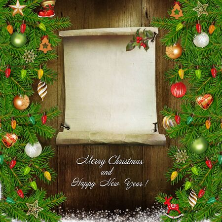 christmas time: Christmas congratulatory background with pine branches, Christmas decorations and space for text