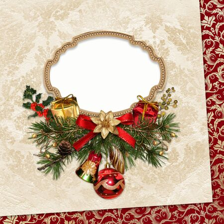 christmas decorations: Vintage Christmas card with frame, pine branches and Christmas decorations