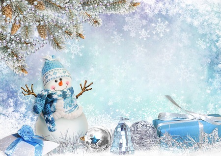 christmas gifts: Christmas greeting card with pine branches, snowman and gifts Stock Photo