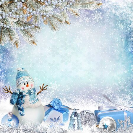 old paper texture: Christmas greeting background with pine branches, snowman and gifts