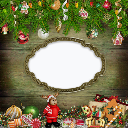 christmas garland: Christmas greeting background with frame, Christmas toys, pine branches, sweets