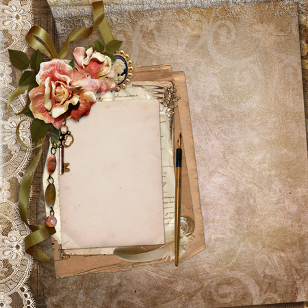 withered: Vintage background with old card, letters, withered roses
