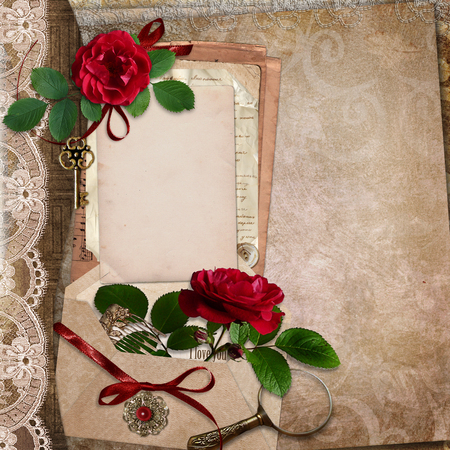 photo album page: Vintage background with roses, old cards, letters, vintage accessories Stock Photo
